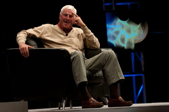Hammond - Former IU basketball coach Bobby Knight laughs on Saturday as various sports notables roast him during the Bob Knight Roast & Toast at the Venue at Horseshoe Casino.