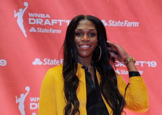 Teaira McCowan poses for a photo before the WNBA basketball draft,, April 10, 2019, in New York.