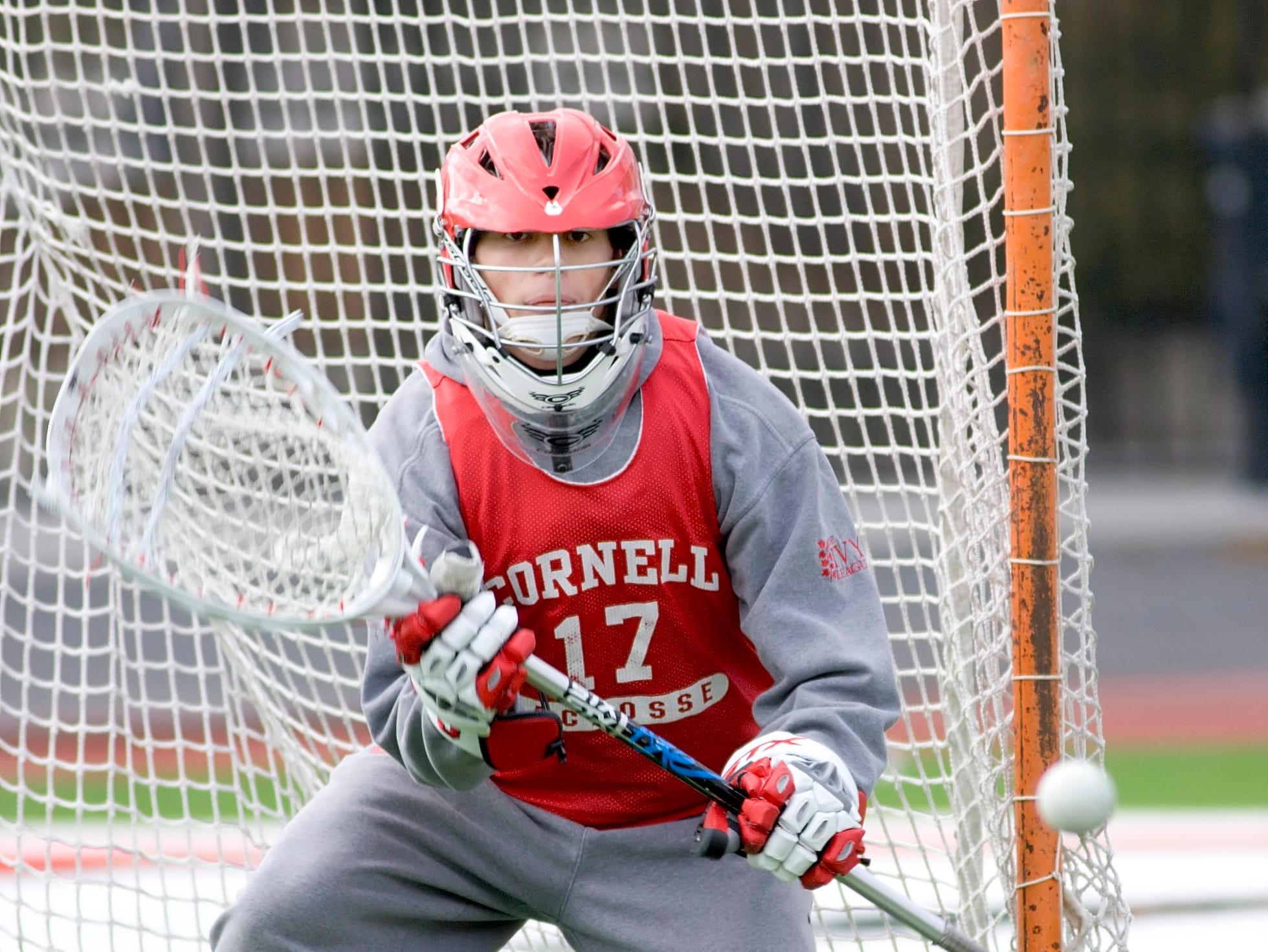 2009: Cornell's Kyle Harer defends the goal during practice Thursday at Schoellkopf Field.