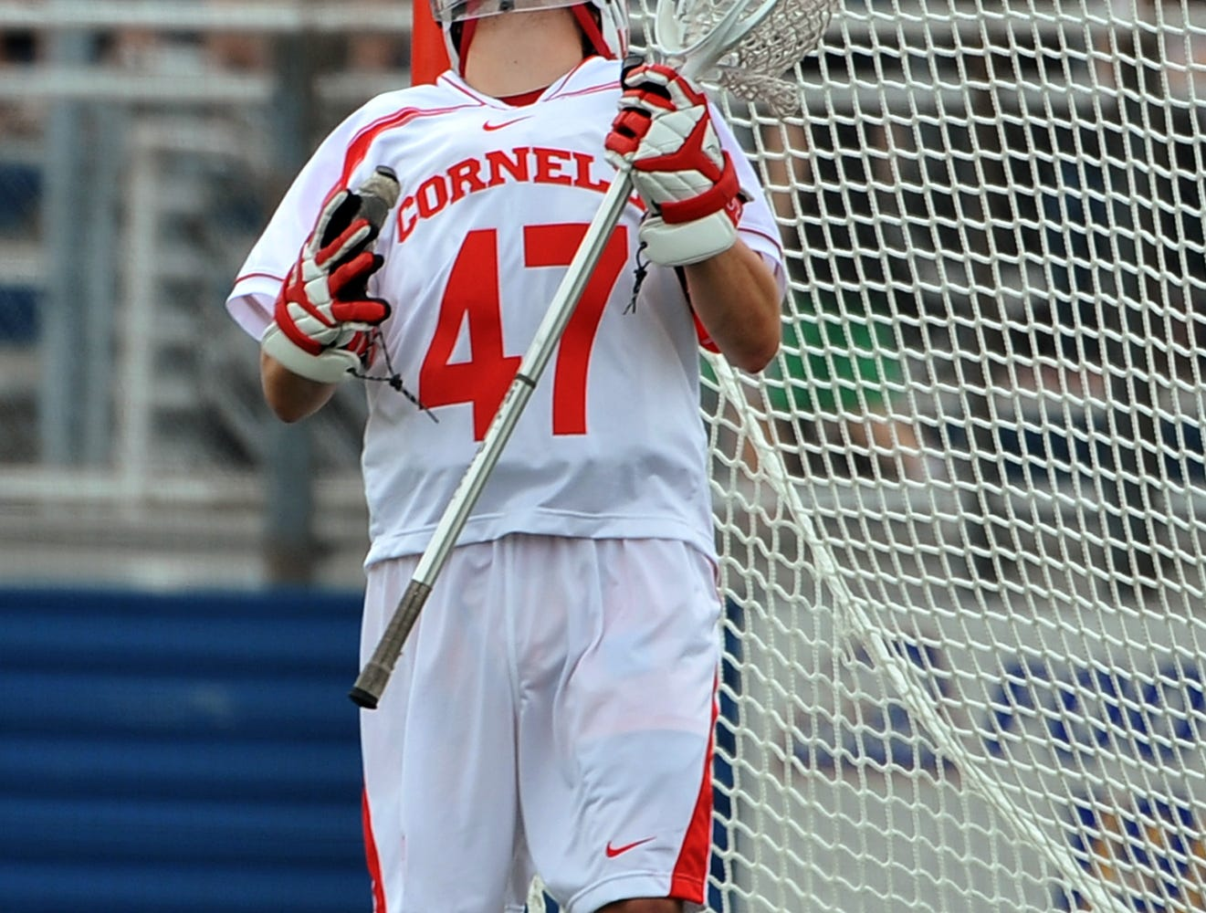 Cornell goalie Aj Fiore reacts after Virginia's Chris LaPierre scored during the second period of an NCAA Division I men's lacrosse tournament quarterfinal at Hofstra University on Saturday, May 21, 2011, in Hempstead, N.Y. Virginia won 13-9.