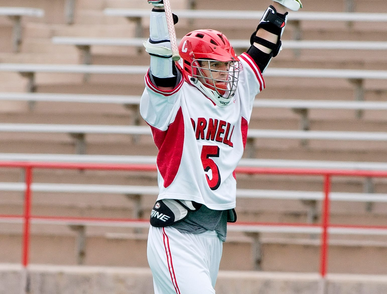 2007: Cornell's Eric Pittard celebrates his goal in the third period of Saturday's NCAA Div. 1 Championship first round against Towson at Schoellkopf Field in Ithaca.