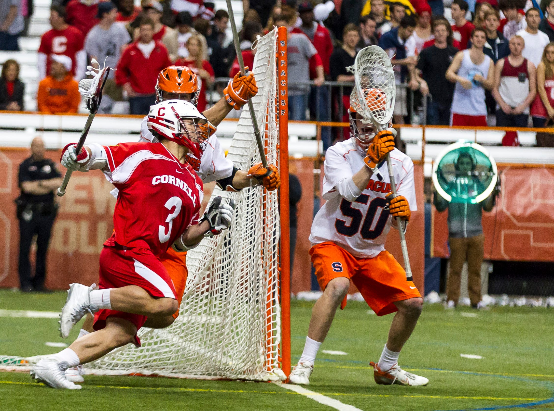 2013: Cornell vs Syracuse University in college mens lacrosse Wednesday night at Syracuse's Carrier Dome.