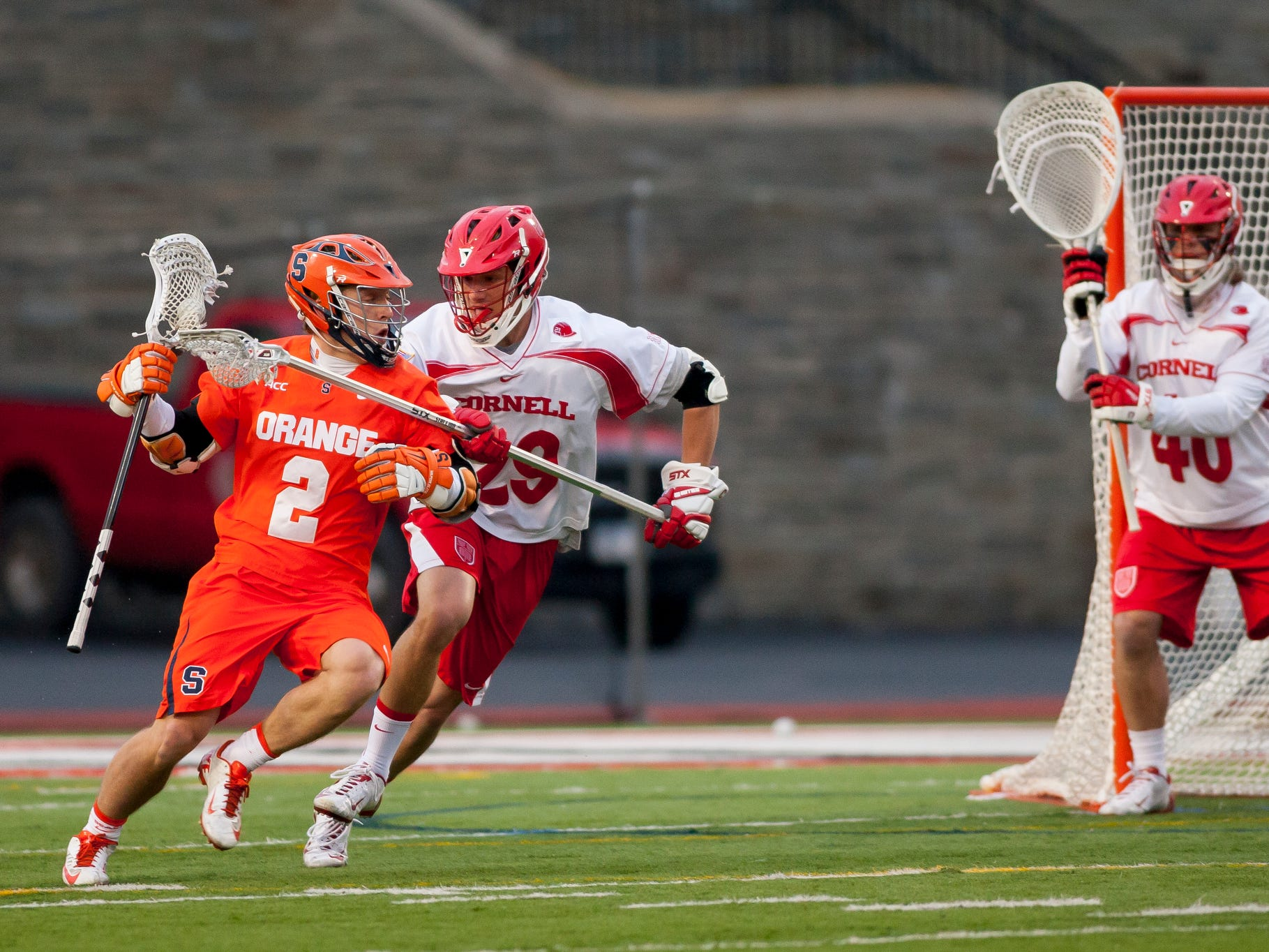 2014: Syracuse defeated Cornell in mens lacrosse 14-9 Tuesday evening at Schoellkopf Field on the Cornell University campus in Ithaca.
