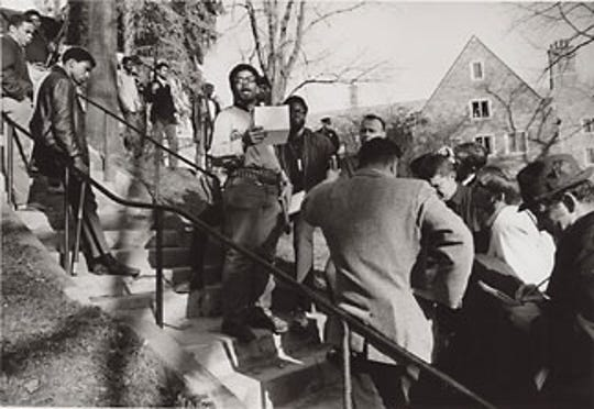 On April 20, 1969, student leader Eric Evans reads a statement following the takeover.