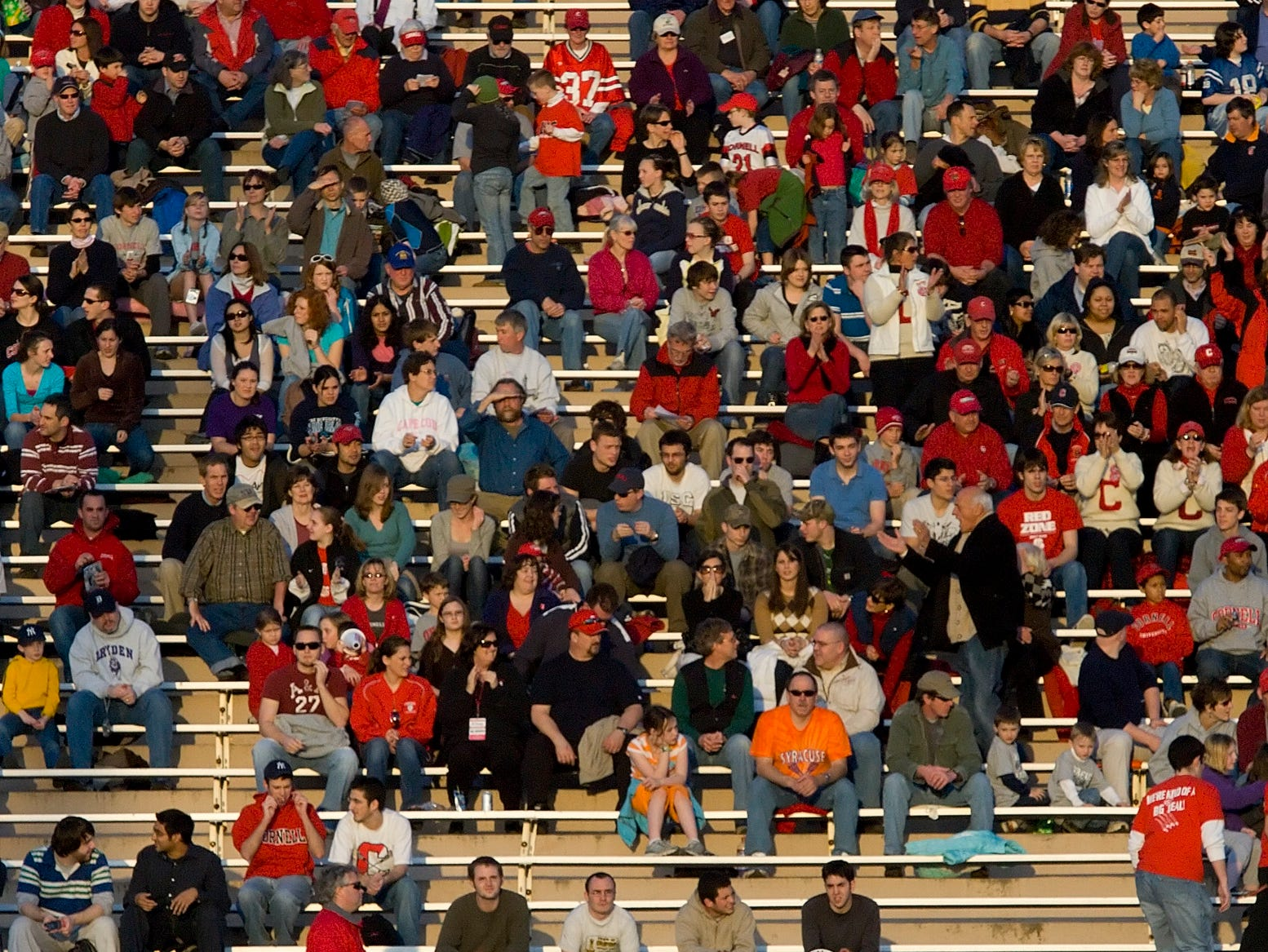 2008: Fans gather in the stands of Schoellkopf Field as the Cornell Mens Lacrosse team prepares to take on Syracuse Tuesday on the Cornell University campus.