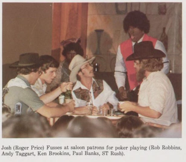 Andy Taggart acts in a skit involving blackface. This picture is from a 1979 yearbook of Mississippi College.