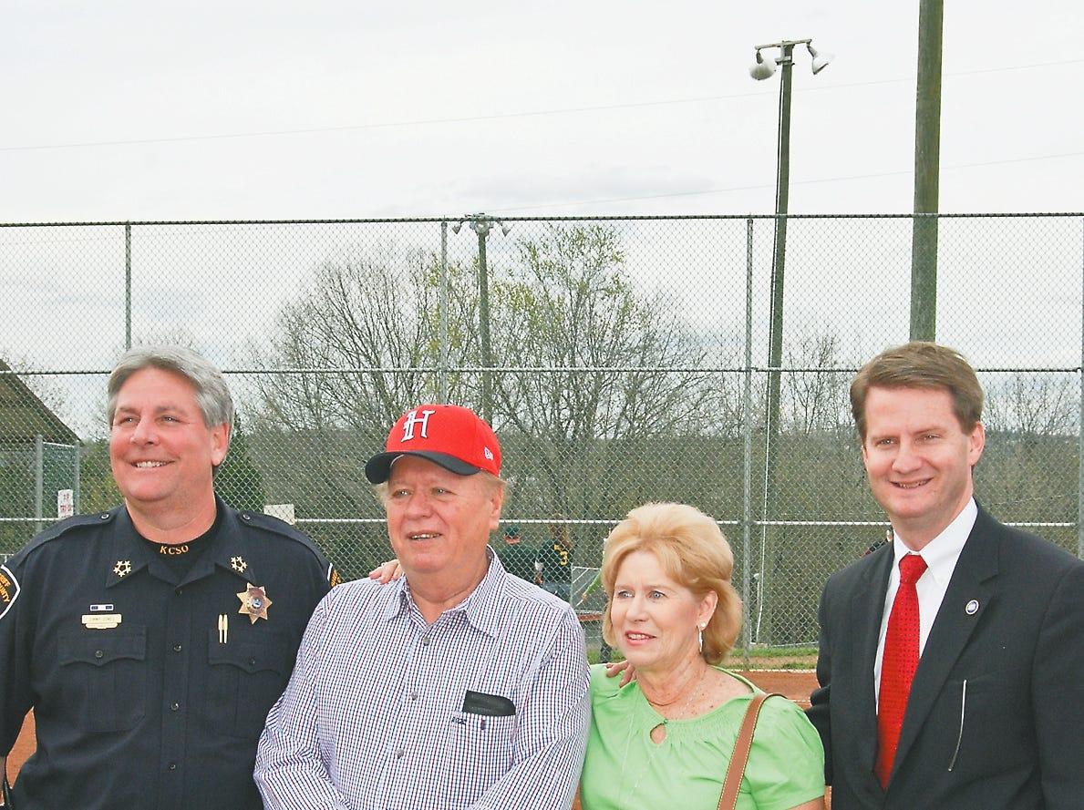 Sheriff JJ Jones, Hugh and Mary Newsom and mayor Tim Burchett kick off the 2009 Chris Newsom Memorial Tournament at Halls Community Park.