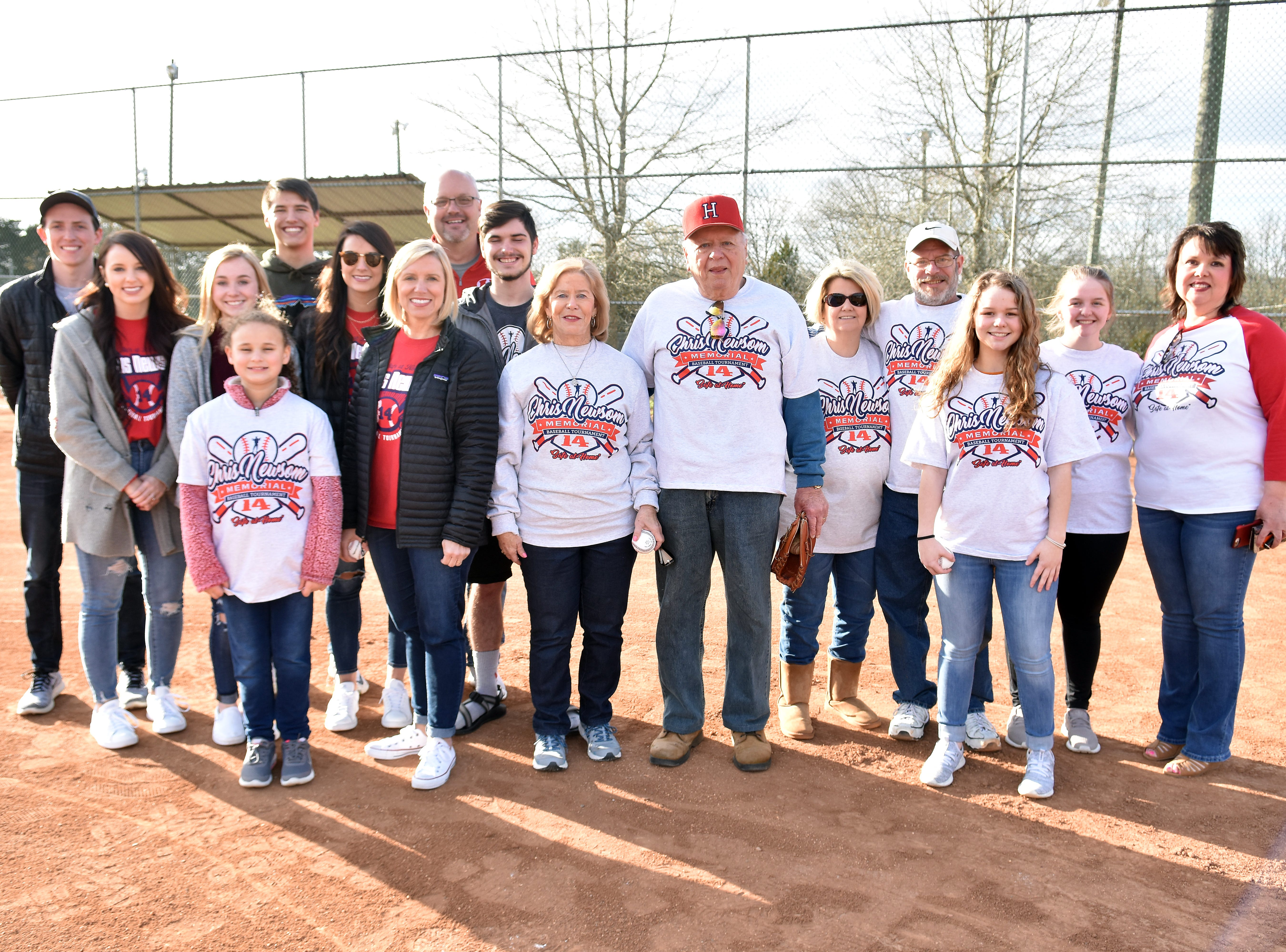 The Newsom family gathered for the opening of the 2019 Chris Newsom Memorial Tournament at Halls Community Park.