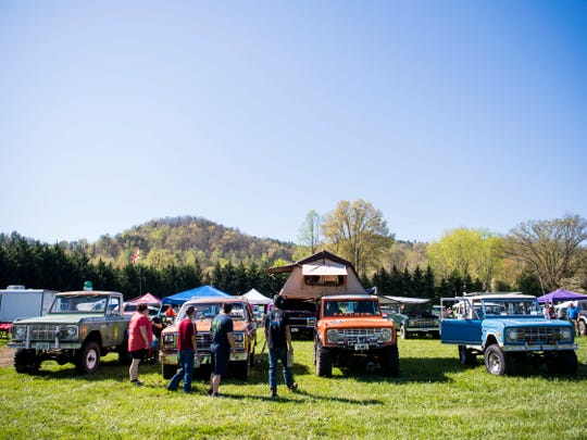 Ford Broncos on display at the Bronco Super Celebration event held at Tally Ho Inn in Townsend, Tenn. Between 500 and 600 Broncos are expected at the event, which will run from April 10, 2019, to April 13, 2019.