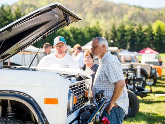 Ford Bronco enthusiasts view Broncos on display at the Bronco Super Celebration event held at Tally Ho Inn in Townsend, Tenn. Between 500 and 600 Broncos are expected at the event, which will run from April 10, 2019, to April 13, 2019.