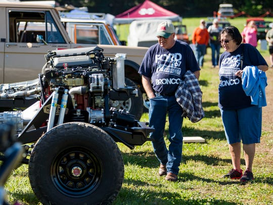 Ford Bronco enthusiasts view Broncos on display at the Super Bronco Celebration event held at Tally Ho Inn in Townsend, Tenn. Between 500 and 600 Broncos are expected at the event, which will run from April 10, 2019, to April 13, 2019.