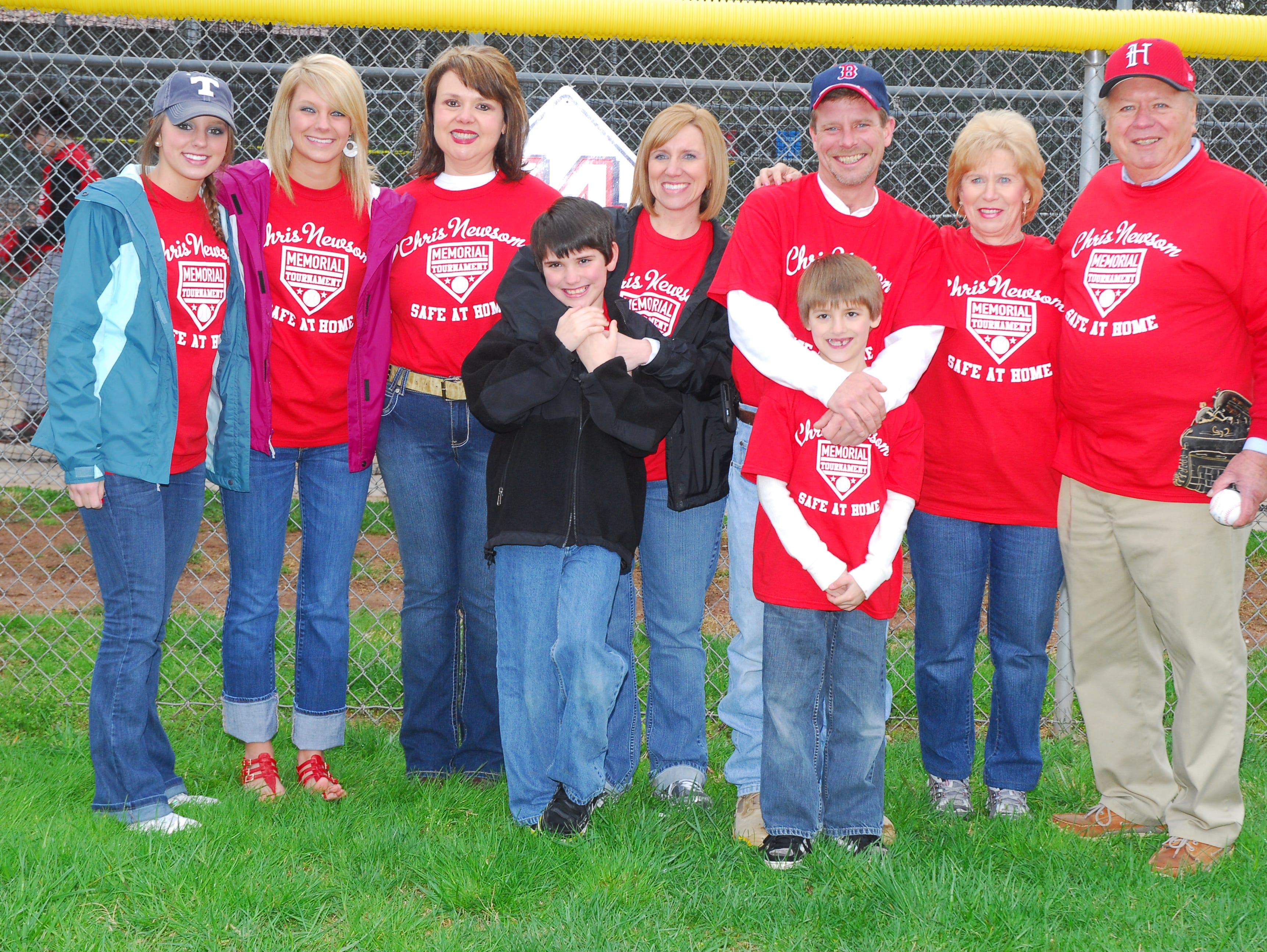 The Newsom family gathered at Halls Park for the opening of the 2011 Chris Newsom Memorial Tournament.