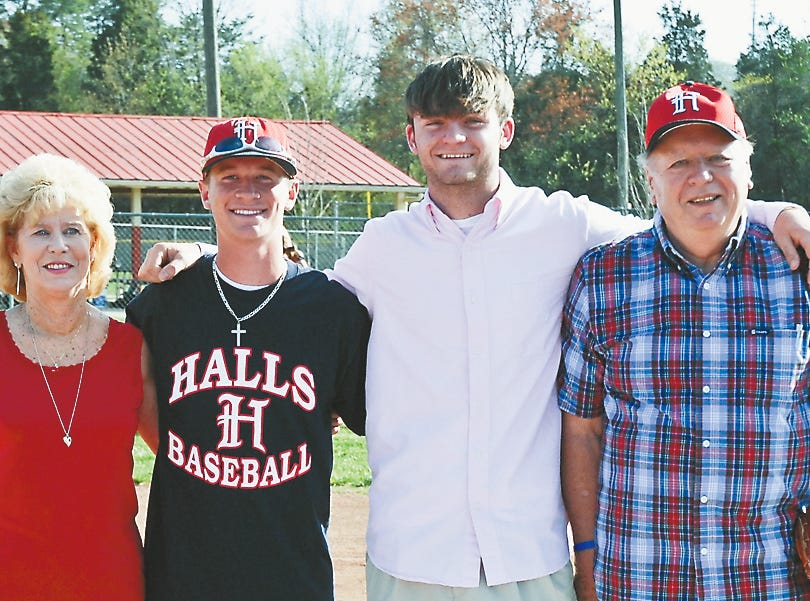 Family members, community members and dignitaries were on hand to congratulate 2010 Halls High senior baseball players Blake Childress and Tori Kilgore (pictured with Mary and Hugh Newsom) for receiving the Chris Newsom Memorial Scholarship. Both students were required to write an essay and perform many hours of community service as part of their scholarship application.
