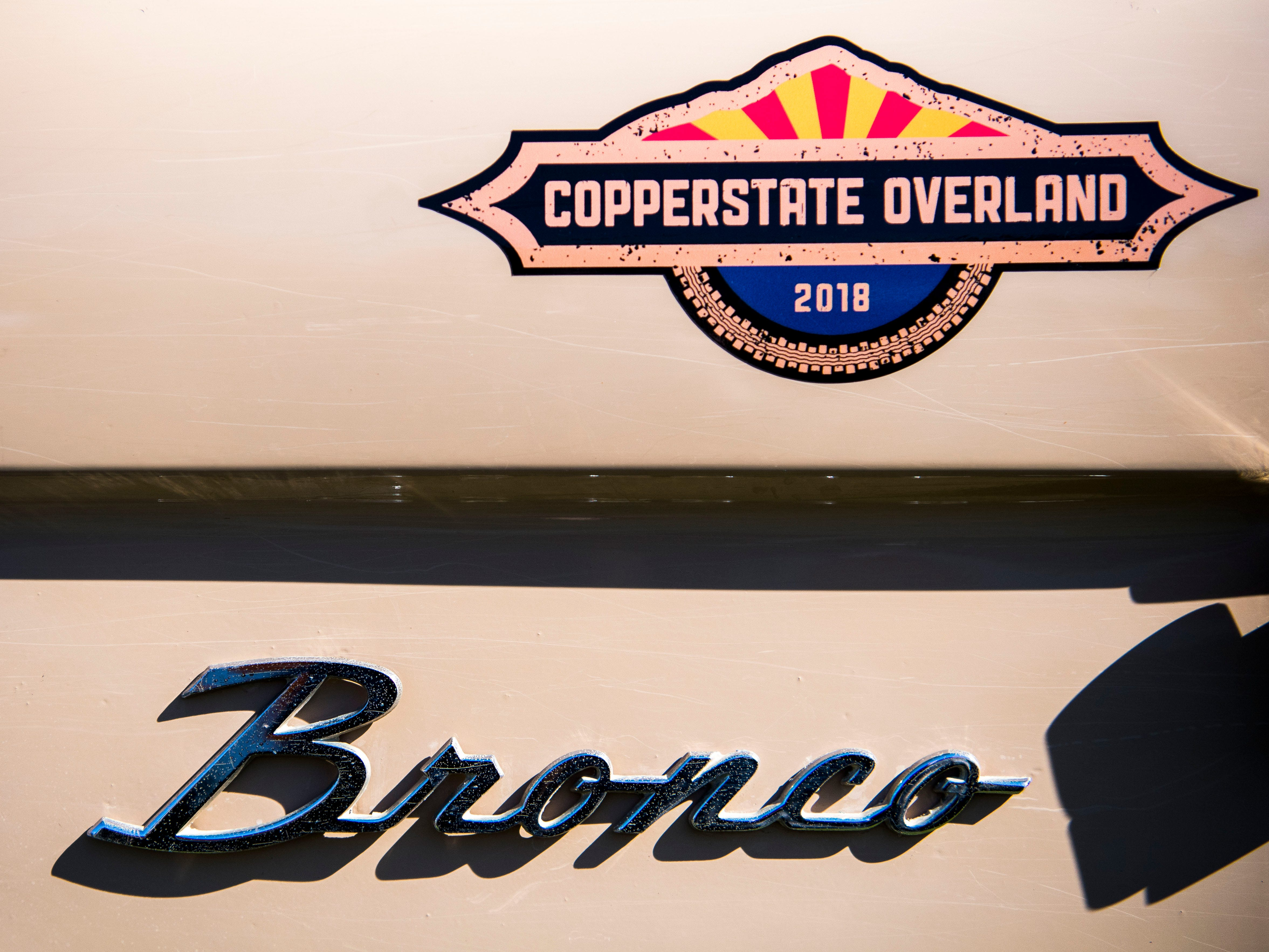Details on a Ford Bronco on display at the Bronco Super Celebration event held at Tally Ho Inn in Townsend, Tenn. Between 500 and 600 Broncos are expected at the event, which will run from April 10, 2019, to April 13, 2019.