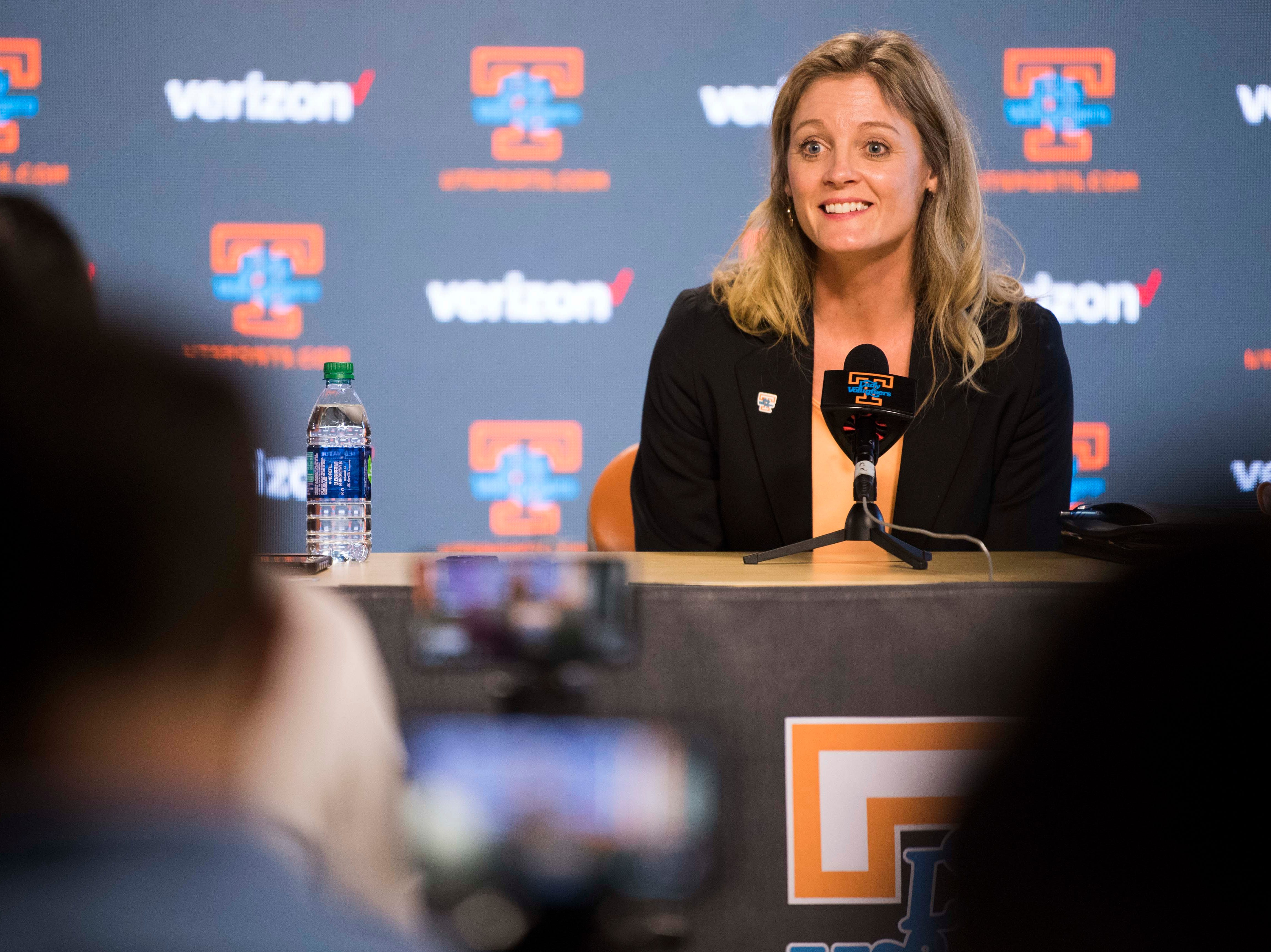 Kellie Harper speaks during a press conference announcing her as new head coach of the Lady Vols, in the Ray and Lucy Hand Studio on University of Tennessee's campus Wednesday, April 10, 2019.