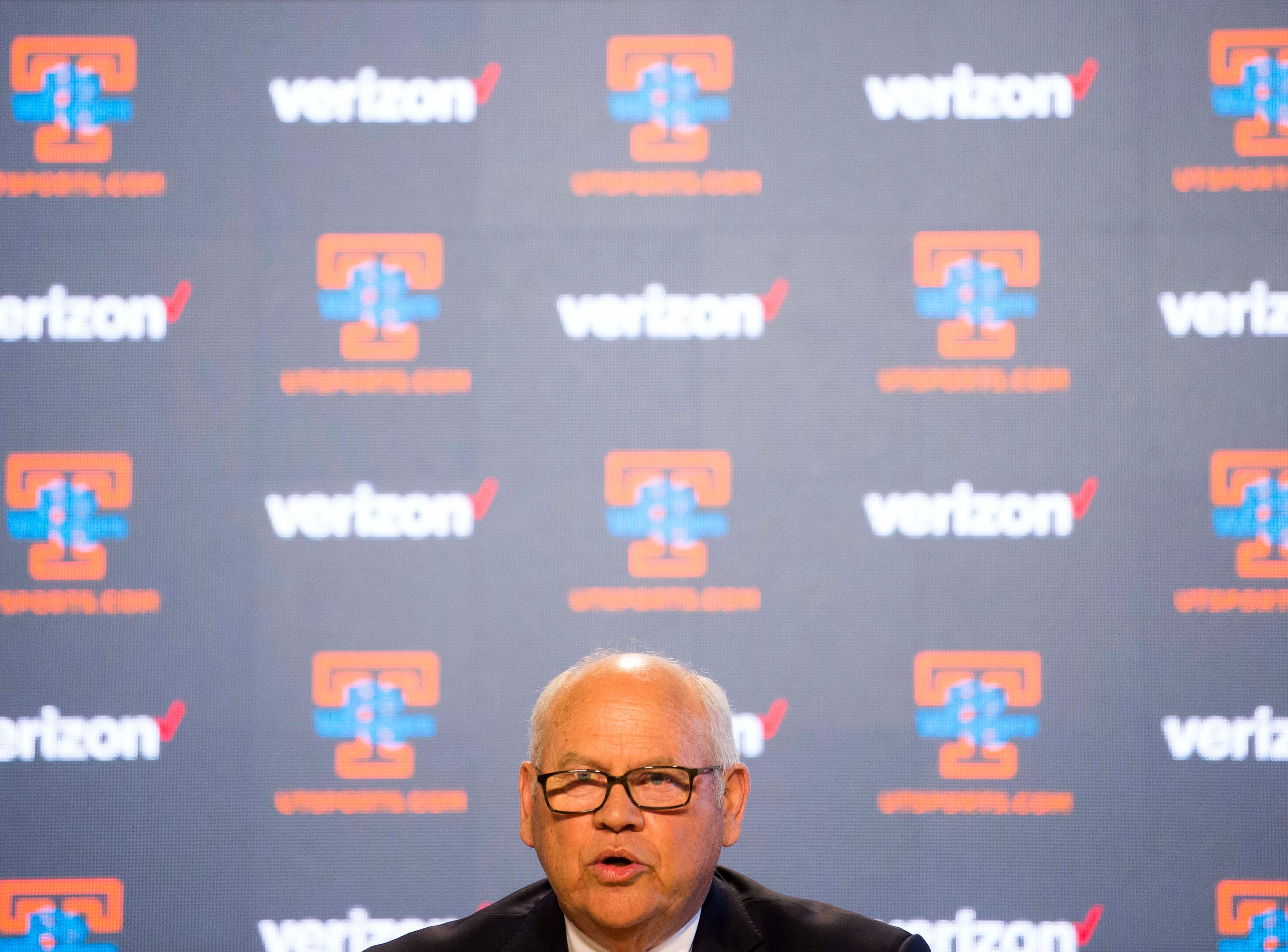 University of Tennessee athletic director Phillip Fulmer speaks during a press conference announcing Kellie Harper as new head coach of the Lady Vols, in the Ray and Lucy Hand Studio on University of Tennessee's campus Wednesday, April 10, 2019.