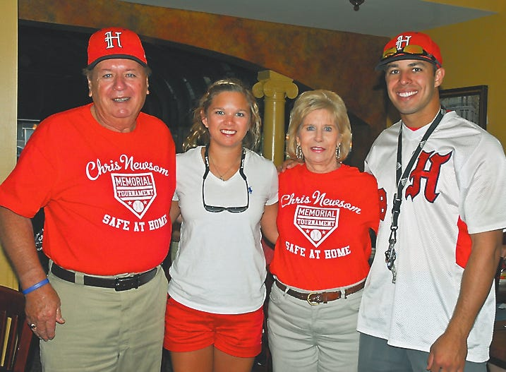 Halls Community Park kicked off the fifth annual Chris Newsom Memorial baseball tournament and the Newsom family was on hand to present scholarships to two Halls High seniors. Pictured in 2012 are Hugh Newsom, recipient Caroline White, Mary Newsom and recipient Grant Painter. Winners were selected based on academics, community service, involvement with Halls Park and good character.
