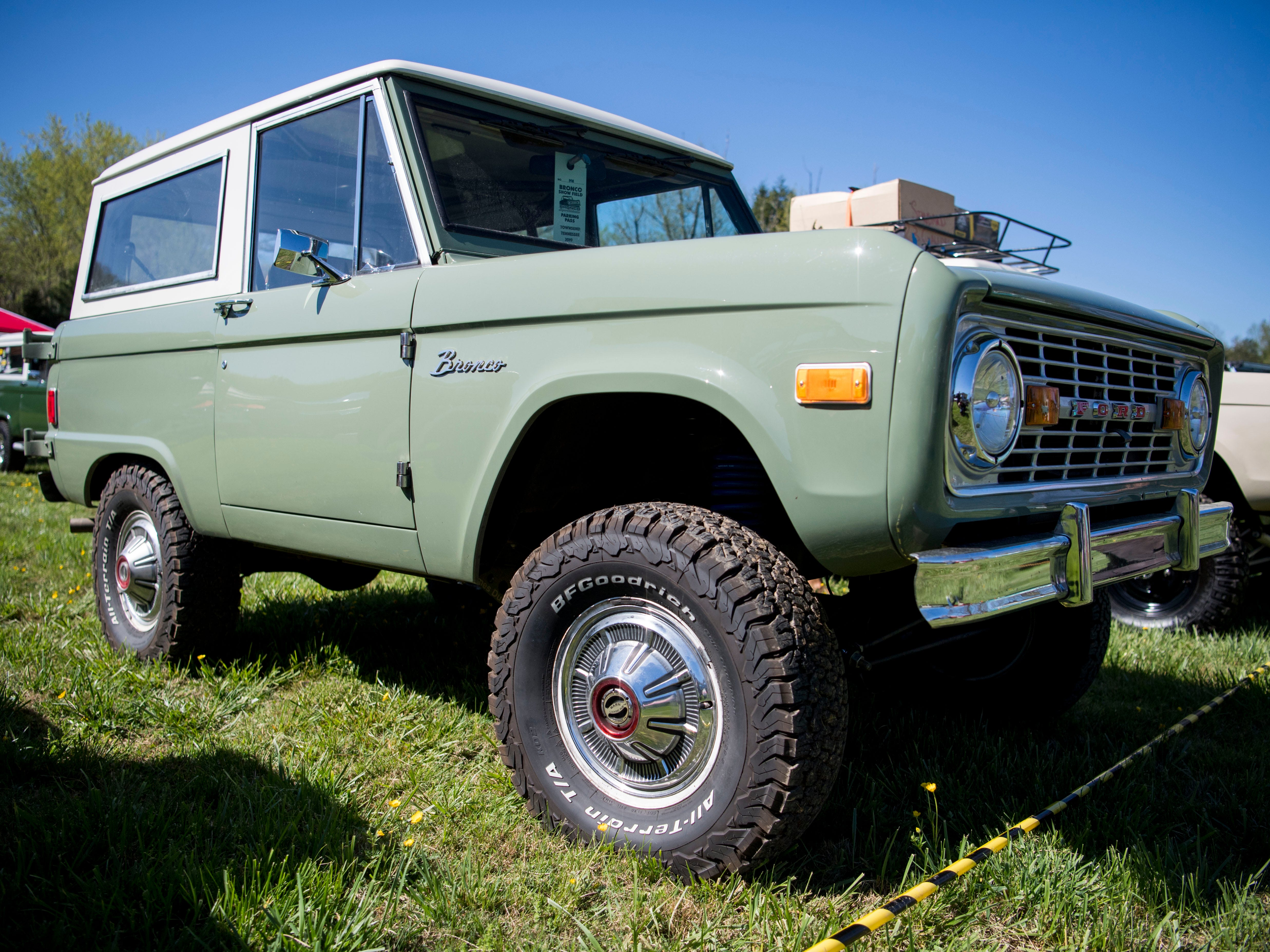A Ford Bronco on display at the Super Bronco Celebration event held at Tally Ho Inn in Townsend, Tenn. Between 500 and 600 Broncos are expected at the event, which will run from April 10, 2019, to April 13, 2019.