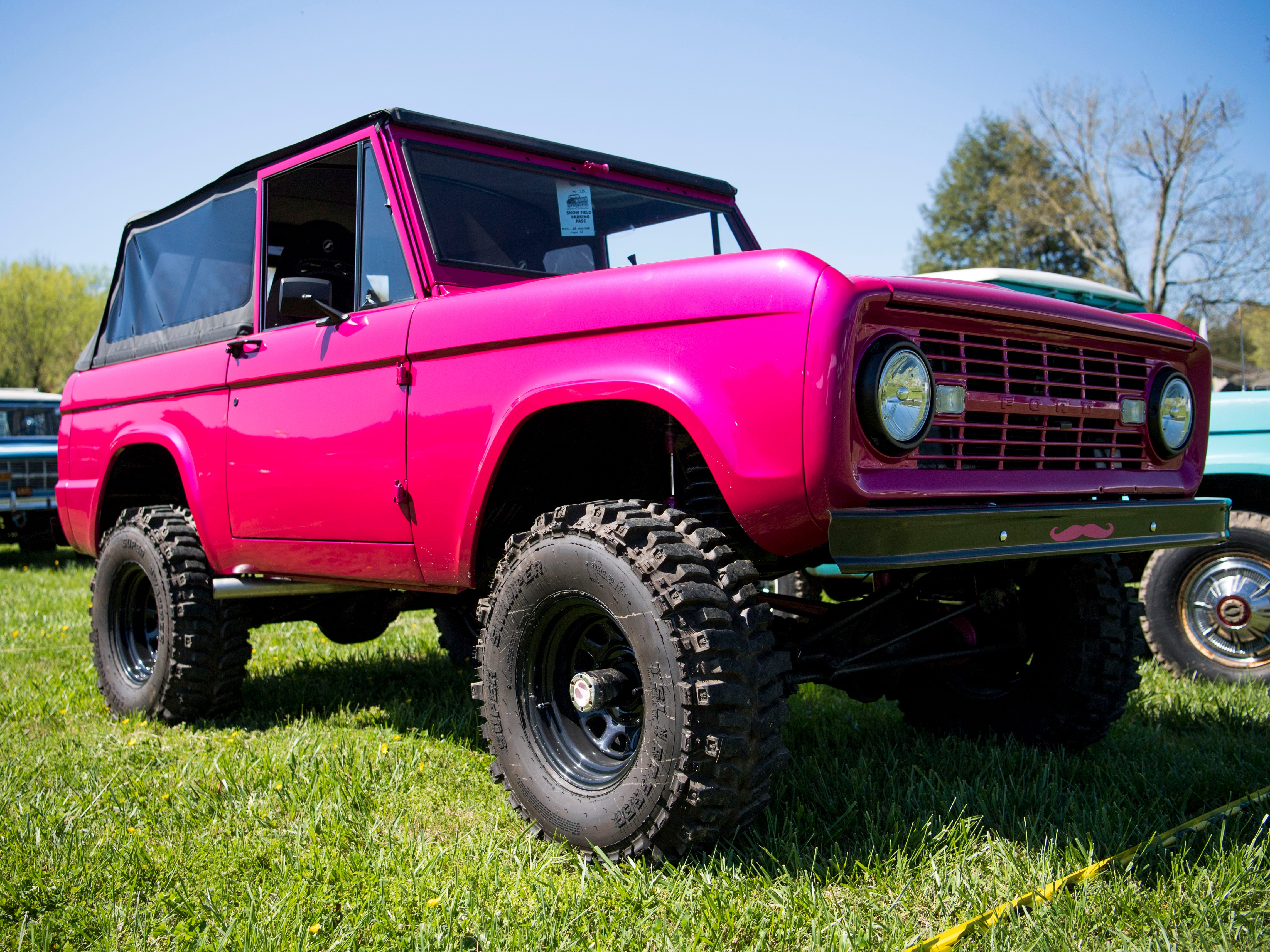 A Ford Bronco on display at the Bronco Super Celebration event held at Tally Ho Inn in Townsend, Tenn. Between 500 and 600 Broncos are expected at the event, which will run from April 10, 2019, to April 13, 2019.