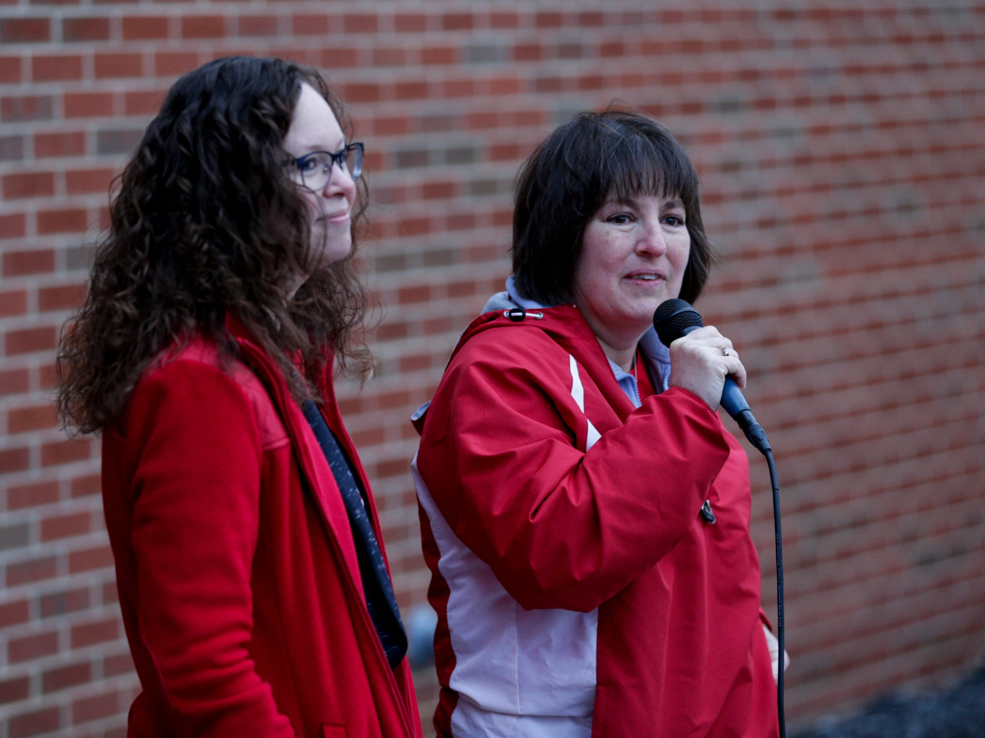 Marydell Forbes, West Lafayette Educators Association co-president, right, speaks, Wednesday, April 10, 2019, at West Lafayette Jr./Sr. High School in West Lafayette. Greater Lafayette teachers and community members gathered outside schools before walking in to demand teacher salary raises.(Nikos Frazier   Journal & Courier)