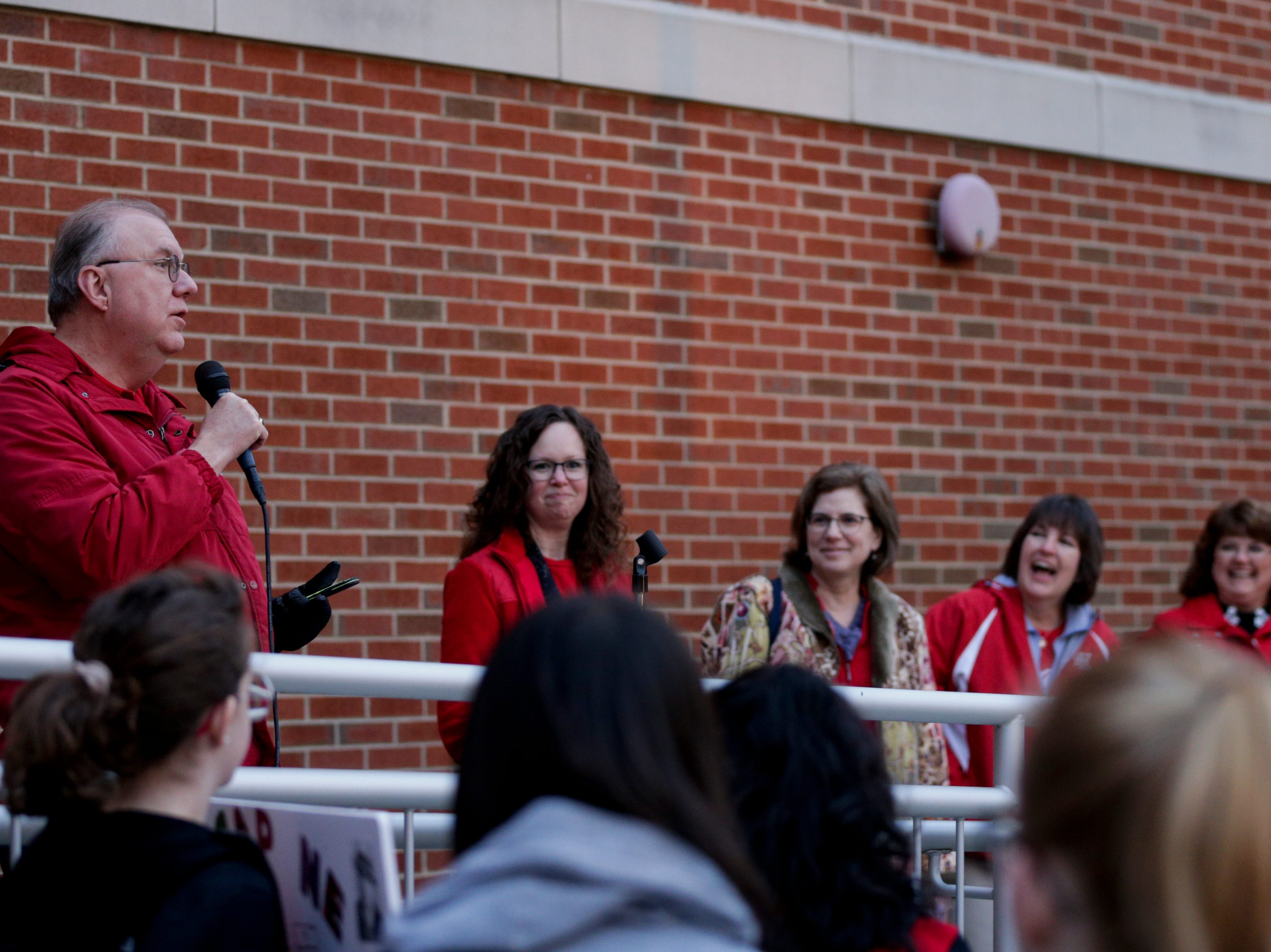 Dr. Rocky D. Killion, West Lafayette superintendent, speaks during a gathering of teachers outside of West Lafayette Jr./Sr. High School, Wednesday, April 10, 2019, in West Lafayette. Greater Lafayette teachers and community members gathered outside schools before walking in to demand teacher salary raises.(Nikos Frazier   Journal & Courier)