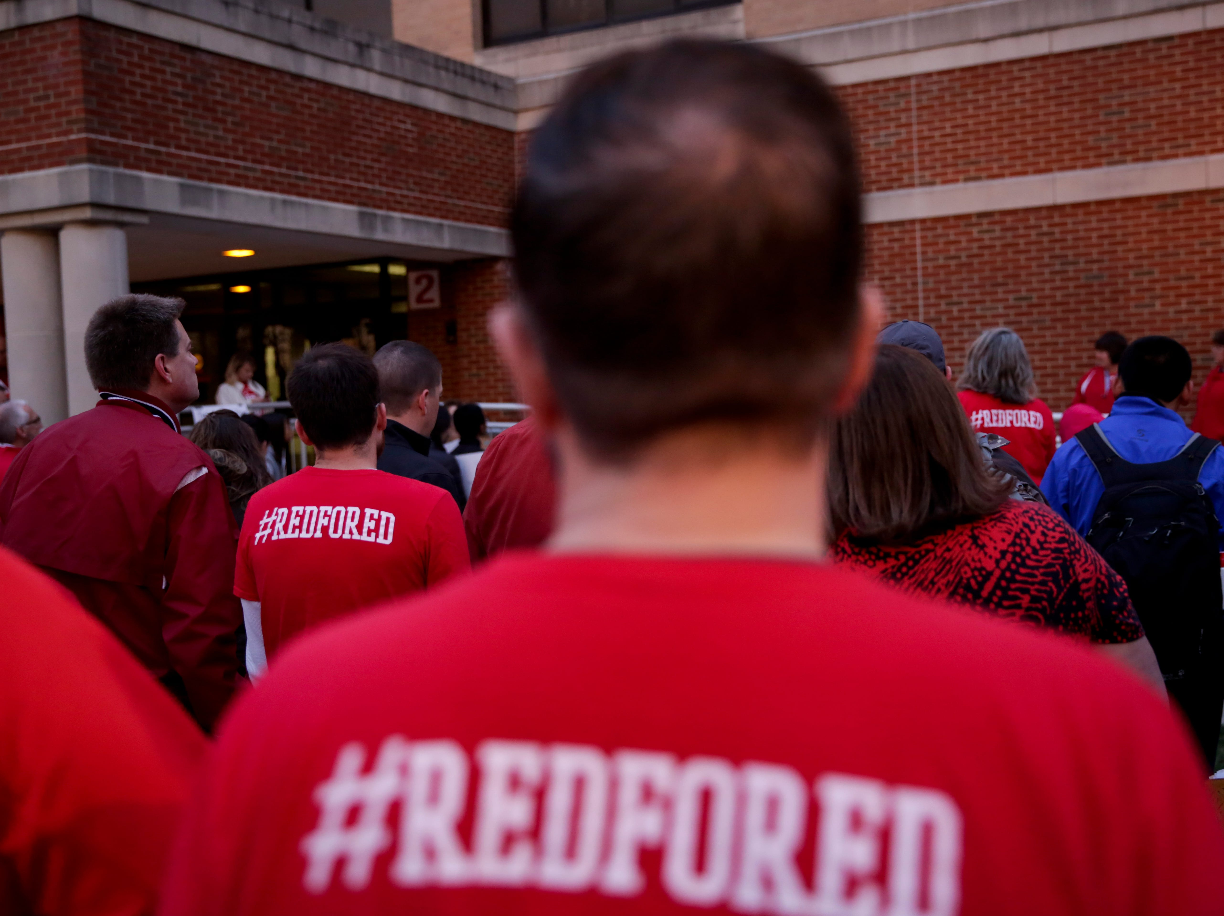 Community members and teachers gather outside of West Lafayette Jr./Sr. High School before walking into school to demand teacher salary raises, Wednesday, April 10, 2019, in West Lafayette. Greater Lafayette teachers and community members gathered outside schools before walking in to demand teacher salary raises.(Nikos Frazier   Journal & Courier)