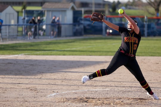 McCutcheon pitcher Heather Johnson (17) throws during the fourth inning of a high school softball game, Tuesday, April 9, 2019, at Harrison High School in Lafayette. Harrison won, 8-5.(Nikos Frazier | Journal & Courier)