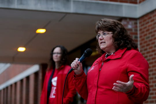 Teresa Meredith, Indiana state teachers association president, speaks to teachers and community members during a gathering outside of West Lafayette Jr./Sr. High School, Wednesday, April 10, 2019, in West Lafayette.