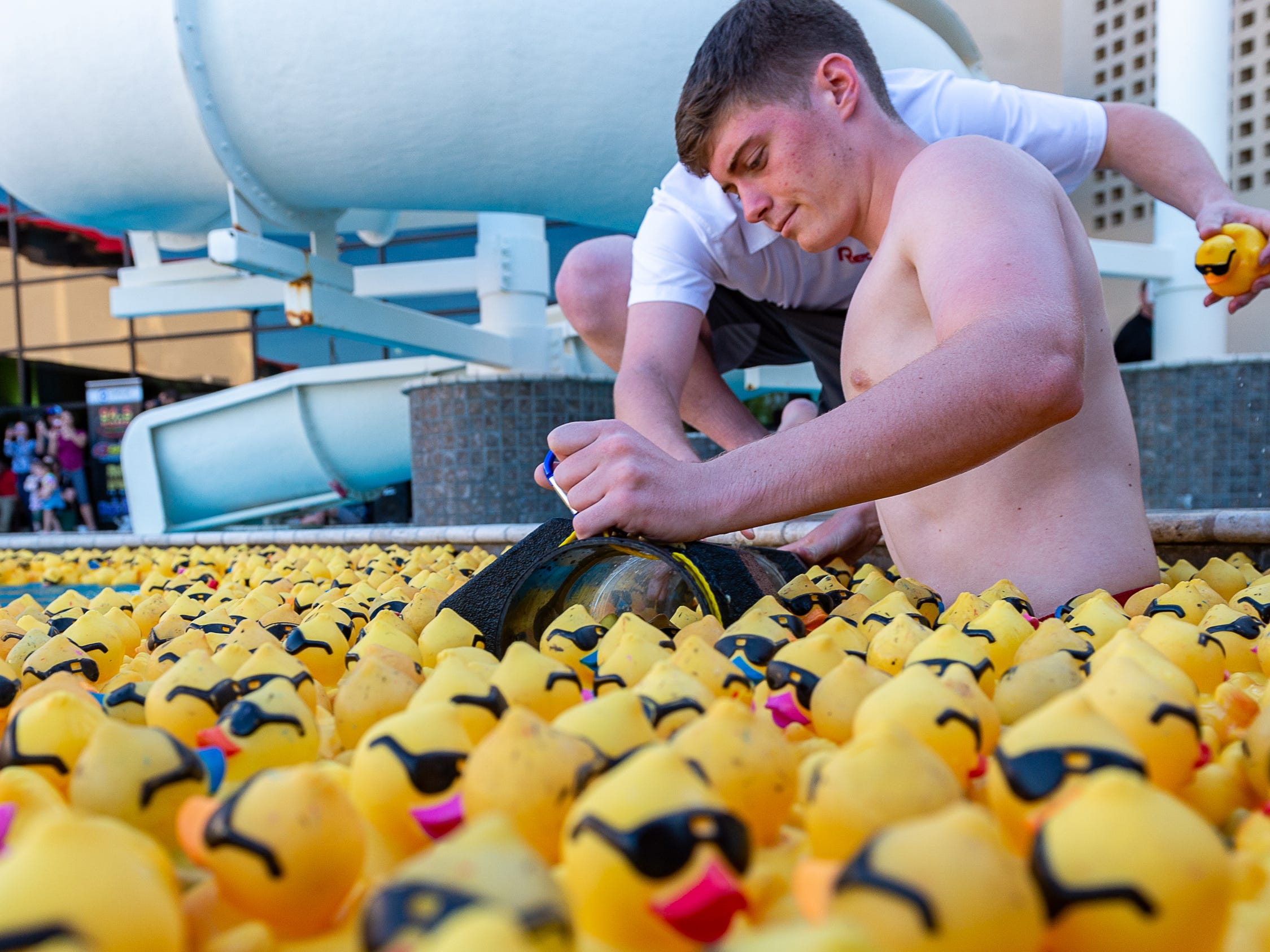 The winning ducks are collected at the finish line at The Great Acadiana Running of the Ducks. Wednesday, April 10, 2019.