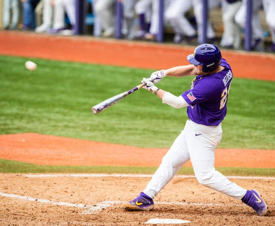 LSU freshman Cade Beloso swings during a game against Texas A&M on Saturday, April 6, 2019 in Baton Rouge, Louisiana.