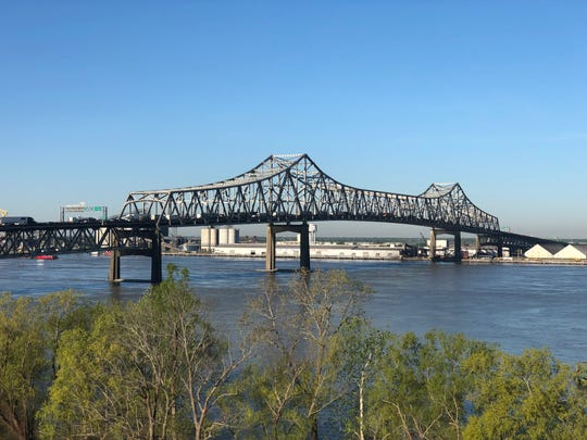 "The Horace Wilkinson Bridge, more commonly referred to as the ""new bridge"" over the Mississippi River, fills with traffic."
