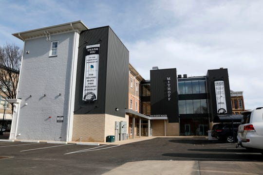 The rear of the Mithoff building in downtown Lancaster blends a modern look with the building's early 19th century architecture. After years of renovation work the building has its first tenants.