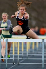 Brighton's Sarah Faruzzi won the 100-meter hurdles and the pole vault in a dual meet at Howell on Tuesday, April, 9, 2019.