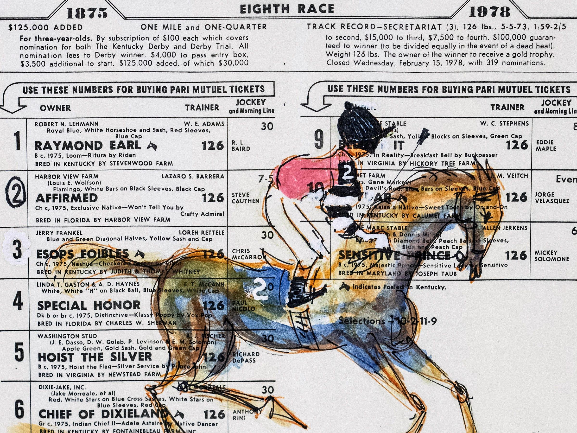A Mitchell Gordon illustration on a 1978 winning ticket celebrates the Triple Crown run of legendary horse Affirmed. 3/26/19