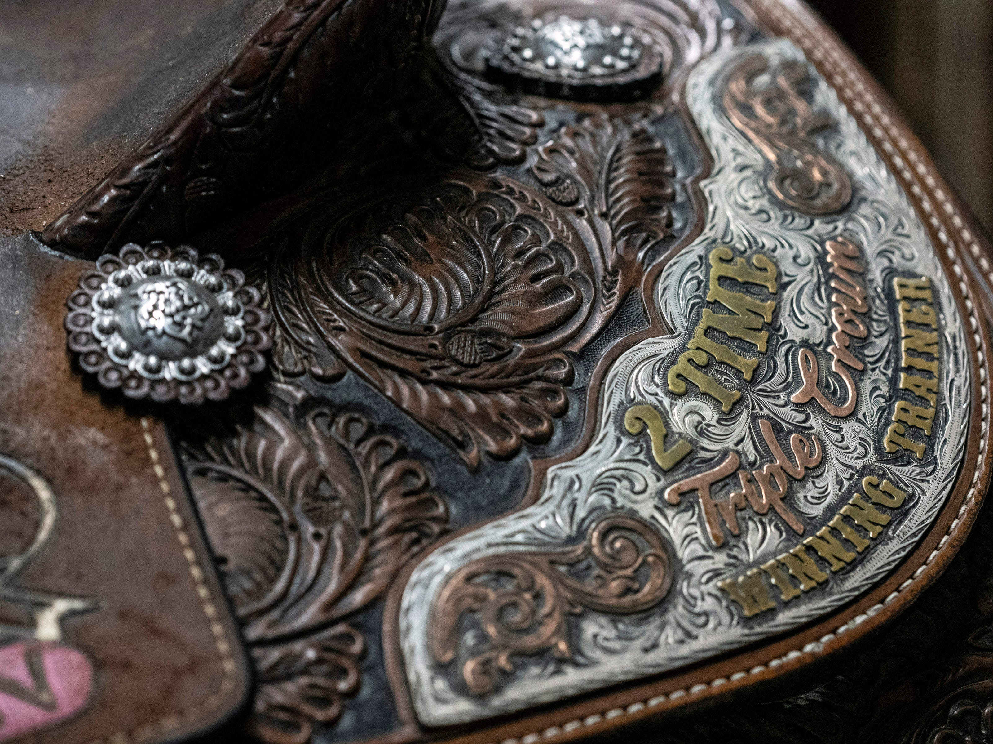 A custom, Western-style saddle gifted to Bob Baffert for his Triple Crown wins with American Pharoah and Justify is one of the latest additions to the Kentucky Derby Museum's collection. 3/26/19