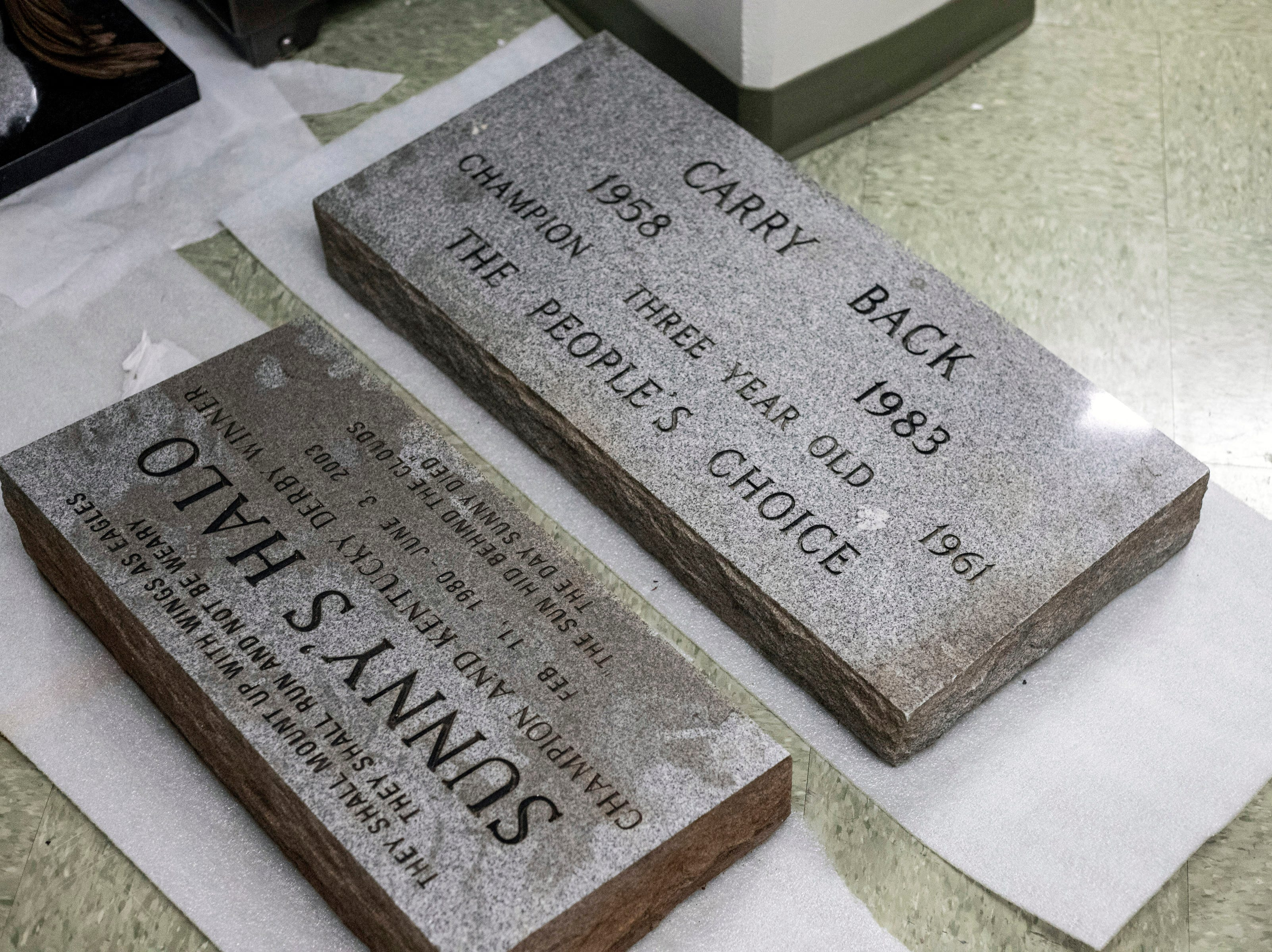 Tombstones of former Derby winners are stored in the Kentucky Derby Museum archives. 3/26/19