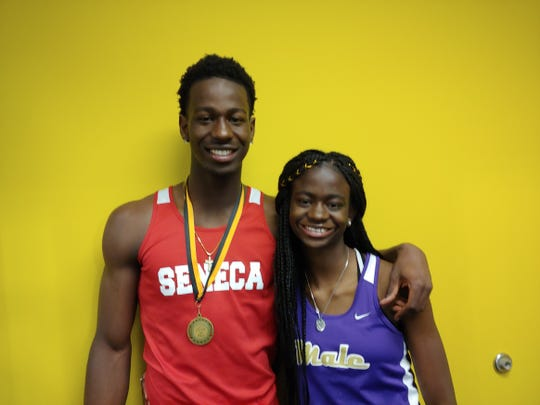 Seneca senior Richard Ninamou and his sister, Male freshman Veronique Ninamou, are off to solid starts this season in track and field