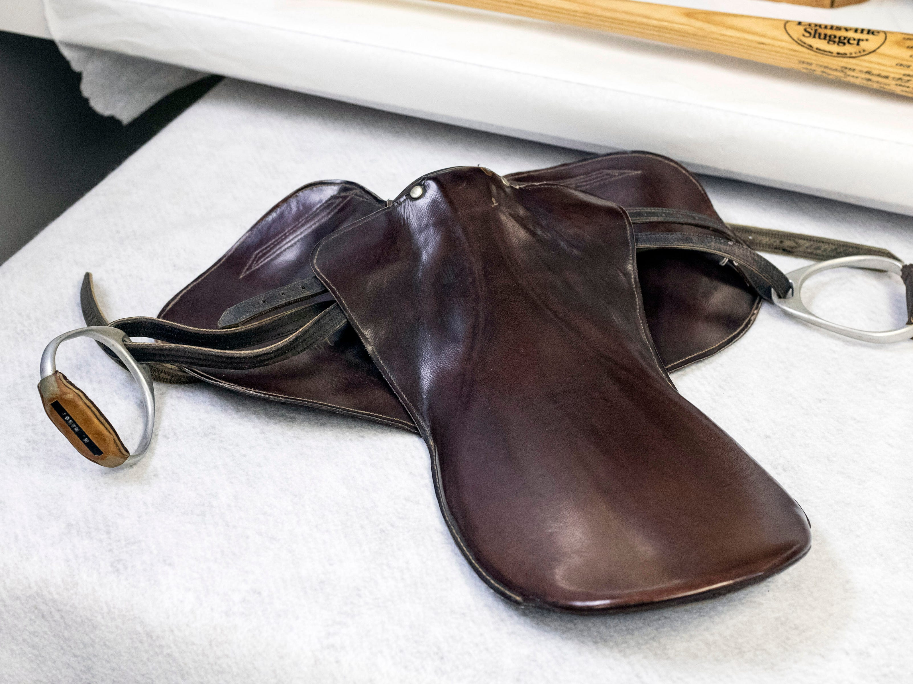 One of the many items in the Derby Museum archives is the saddle used by Mike Manganello when he rode Dust Commander to victory in the 1970 Kentucky Derby. 3/26/19