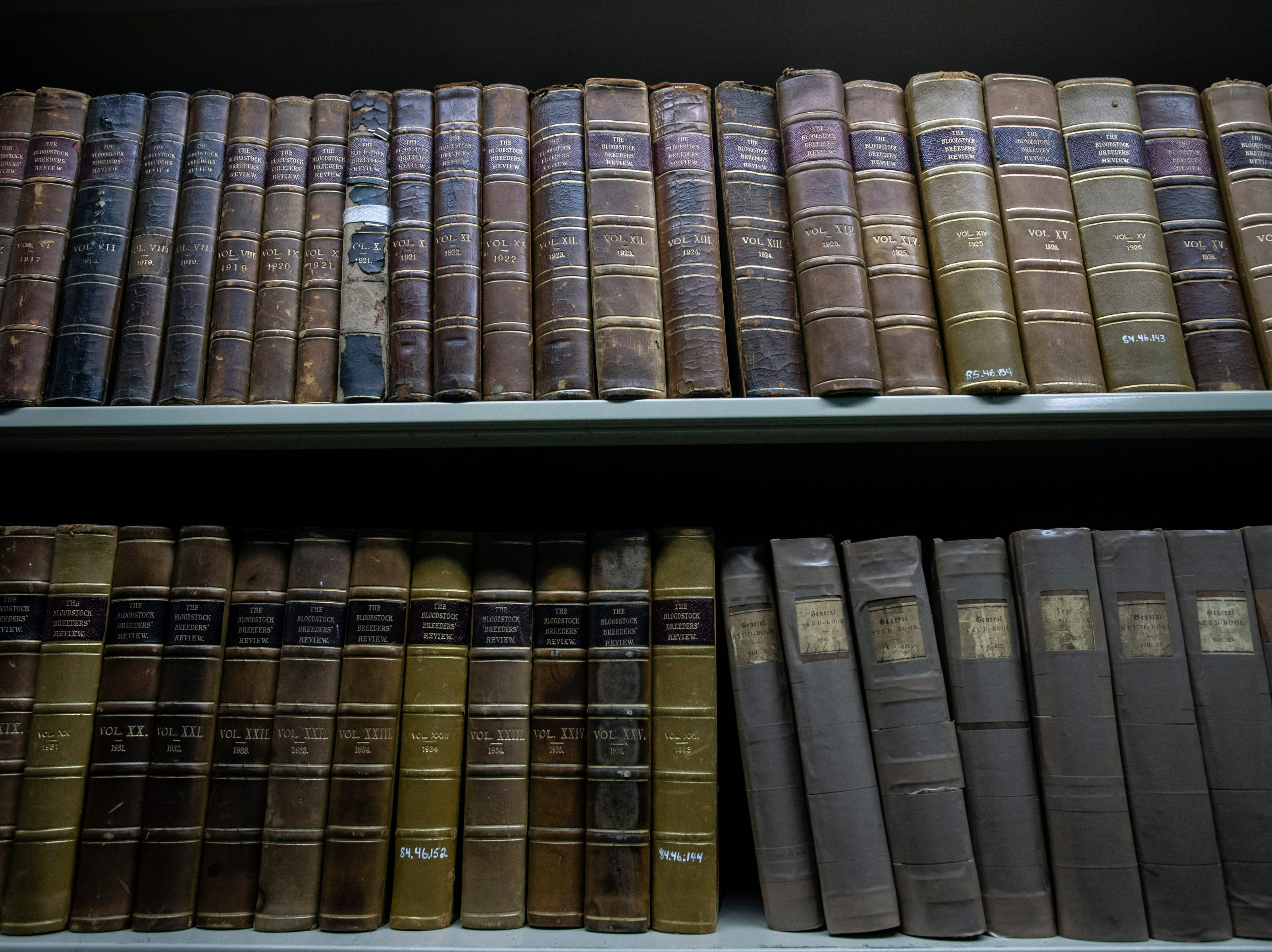 Old racing guides and reviews from a century ago are part of the library in the archives at the Kentucky Derby Museum. 3/26/19