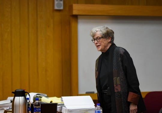Former MSU President Lou Anna Simon jokes with District Judge Julie Reincke about her desire to speak but that she couldn't after a short recess, Simon returned to the courtroom  before her team of attorneys.  [USA Today Network/Matthew Dae Smith/Lansing State Journal]