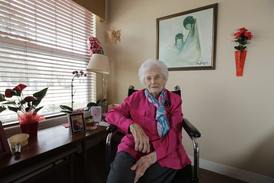 Dorothy Hein in her room at Felician Village Thursday, April 4, 2019, in Manitowoc. Hein turns 100 in May.