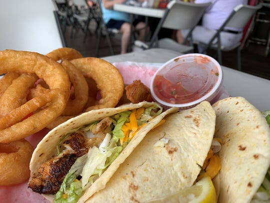 Fish tacos and onion rings from Stand Idle Hour, Goodland.