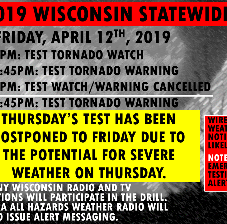Tornado drill postponed because severe storms are possible on Thursday