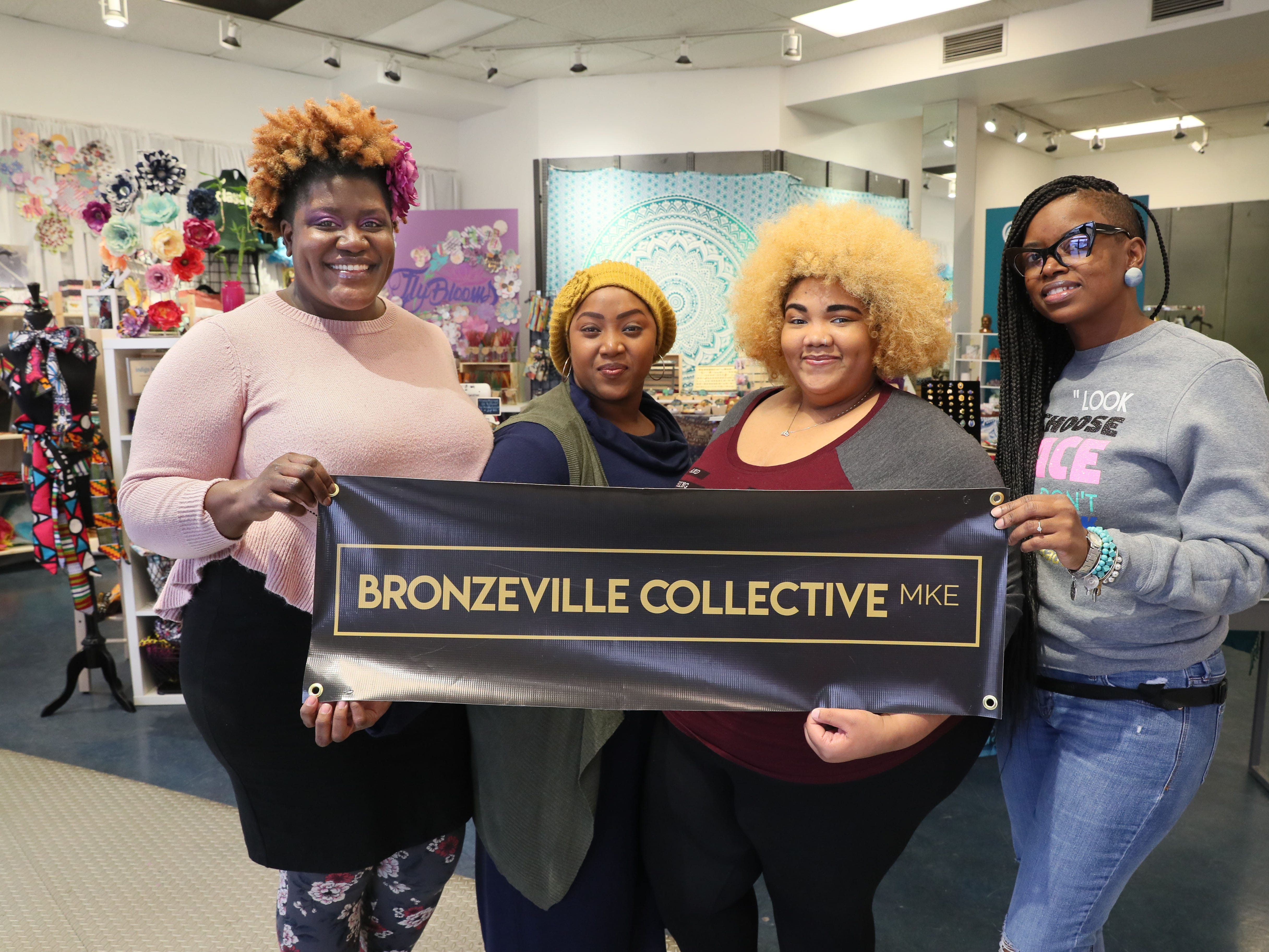 Tiffany Miller (from left), owner of FlyBlooms; Jasmine Barmore, owner of Beelegant Designs; Lilo Allen, owner of Papyrus & Charms; and Tomira White, owner of Distinctive Designs by Tomira; make up The Bronzeville Collective, at 339 W. North Ave.