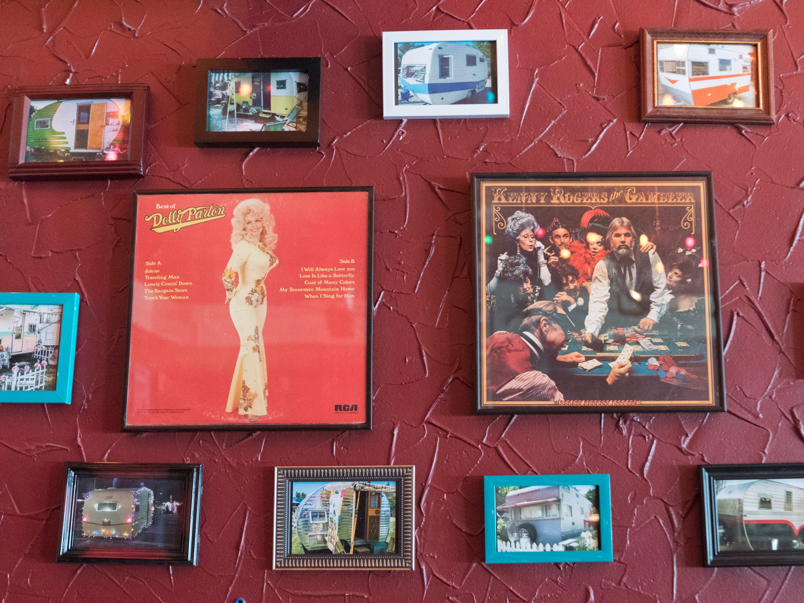 Album covers and photographs decorate a wall Tuesday, April 9, 2019 at the soon-to-open Trailer Park Tavern, 2989 S. Kinnickinnic Ave. in Milwaukee, Wis. The bar, owned by Jordon (CQ) Bledsoe, is to open in May.