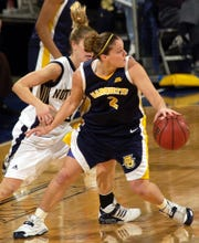 In this photo from 2006, Notre Dame guard Megan Duffy guards Marquette's Carolyn Kieger.
