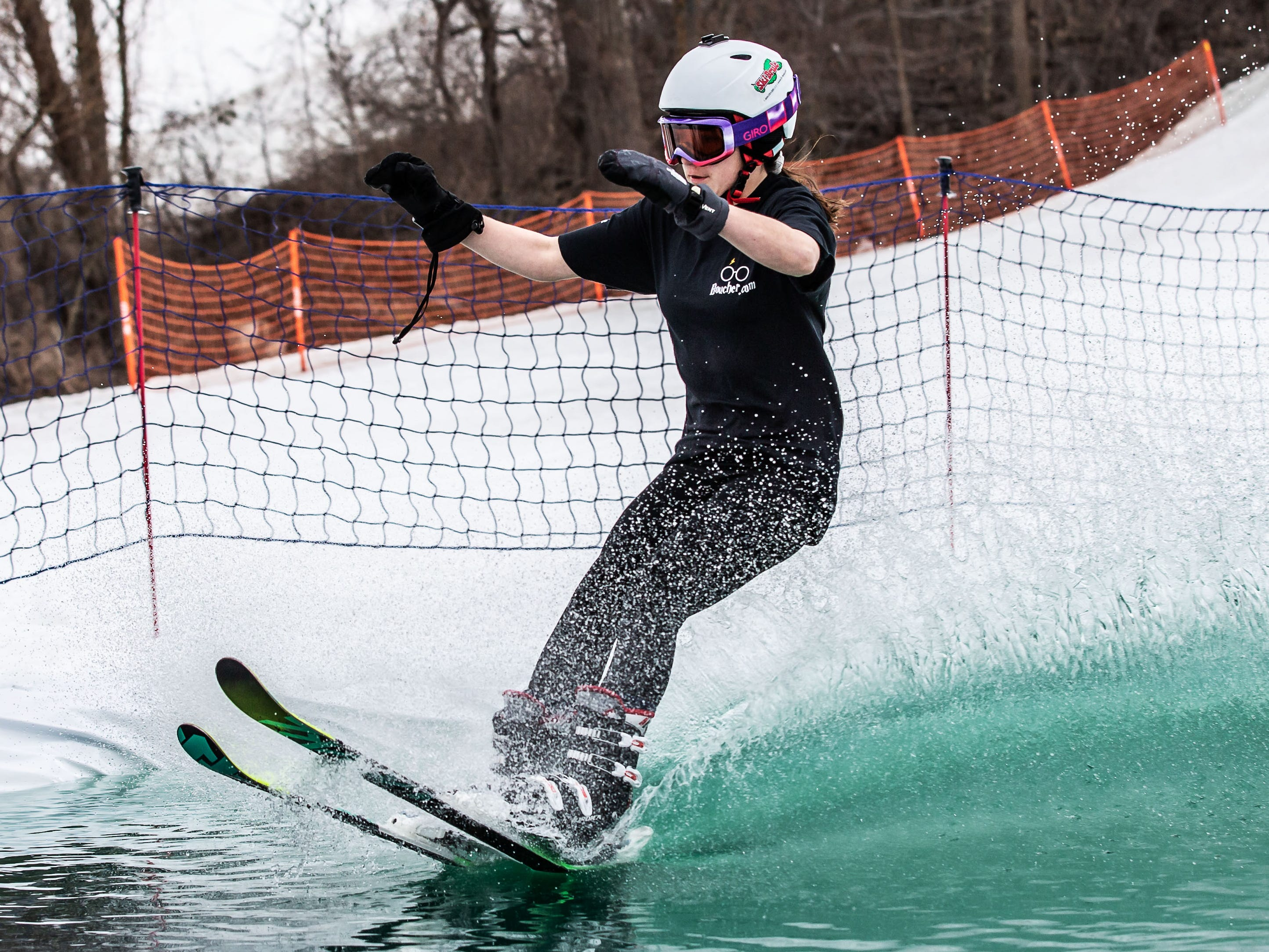 Brynn Jeide, 13, of Elm Grove takes a run during the 2nd annual Pond Skim at Ausblick Ski Hill in Sussex on Saturday, April 6, 2019. The pond skim is held on the last day of the season as club members celebrate another fun-filled year on the slopes.