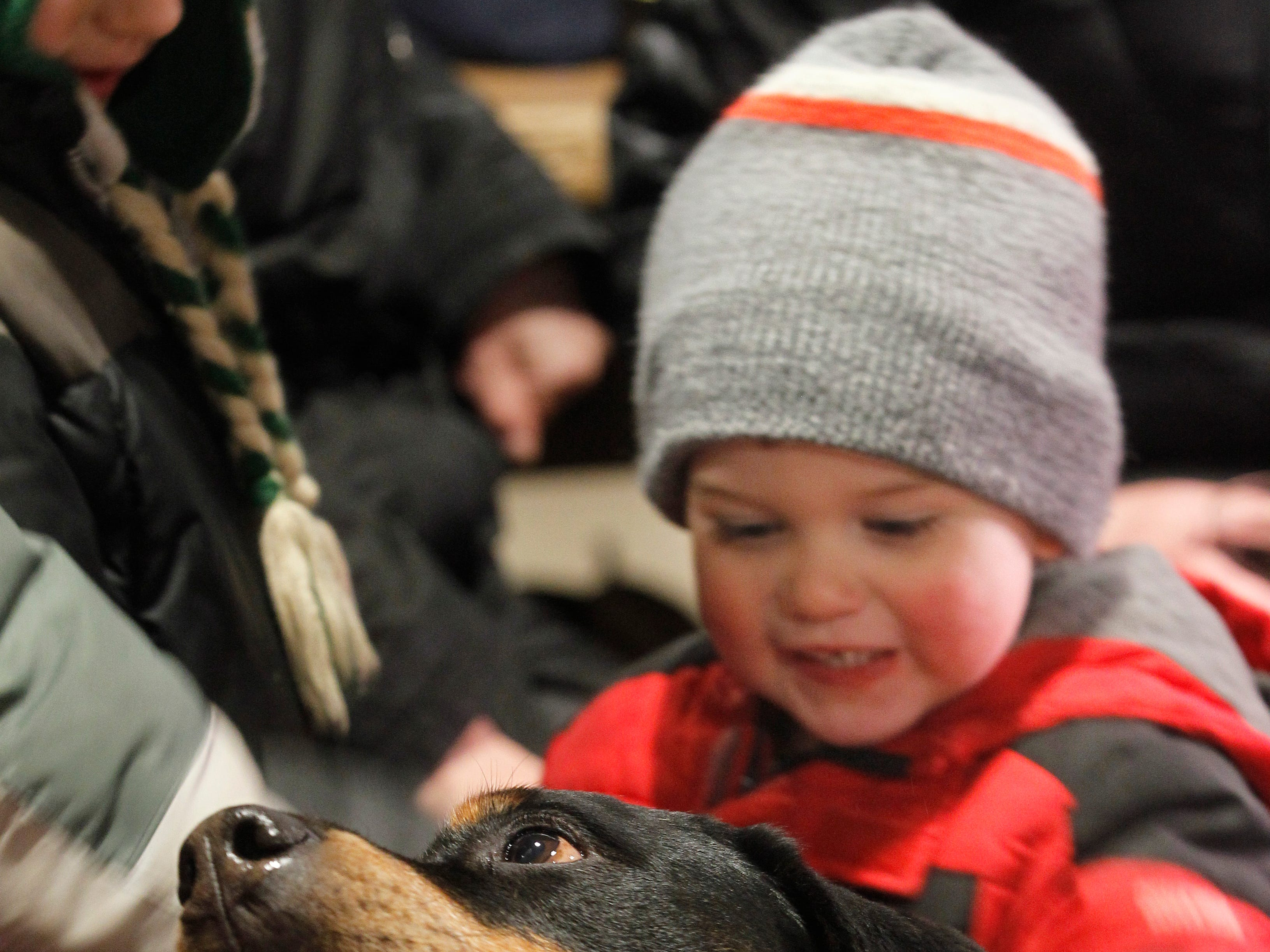Louis, a rescue dog, keeps children including Rey Hall, 2, entertained at the  South Shore Terrace  beer garden.