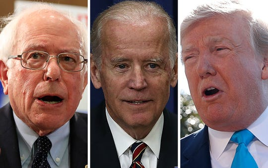 Sen. Bernie Sanders (left), former Vice President Joe Biden (center) and President Donald Trump (right)