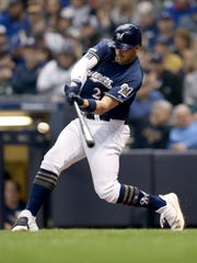 Brewers third baseman Travis Shaw is in the throes of a 1-for-17 skid which includes an 0-for-4, four-strikeout performance Monday night against the Angels.